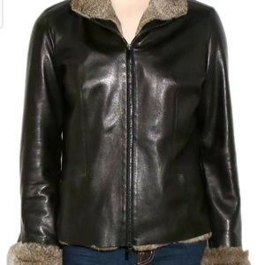 Gucci Fur Black Leather Jacket...42
